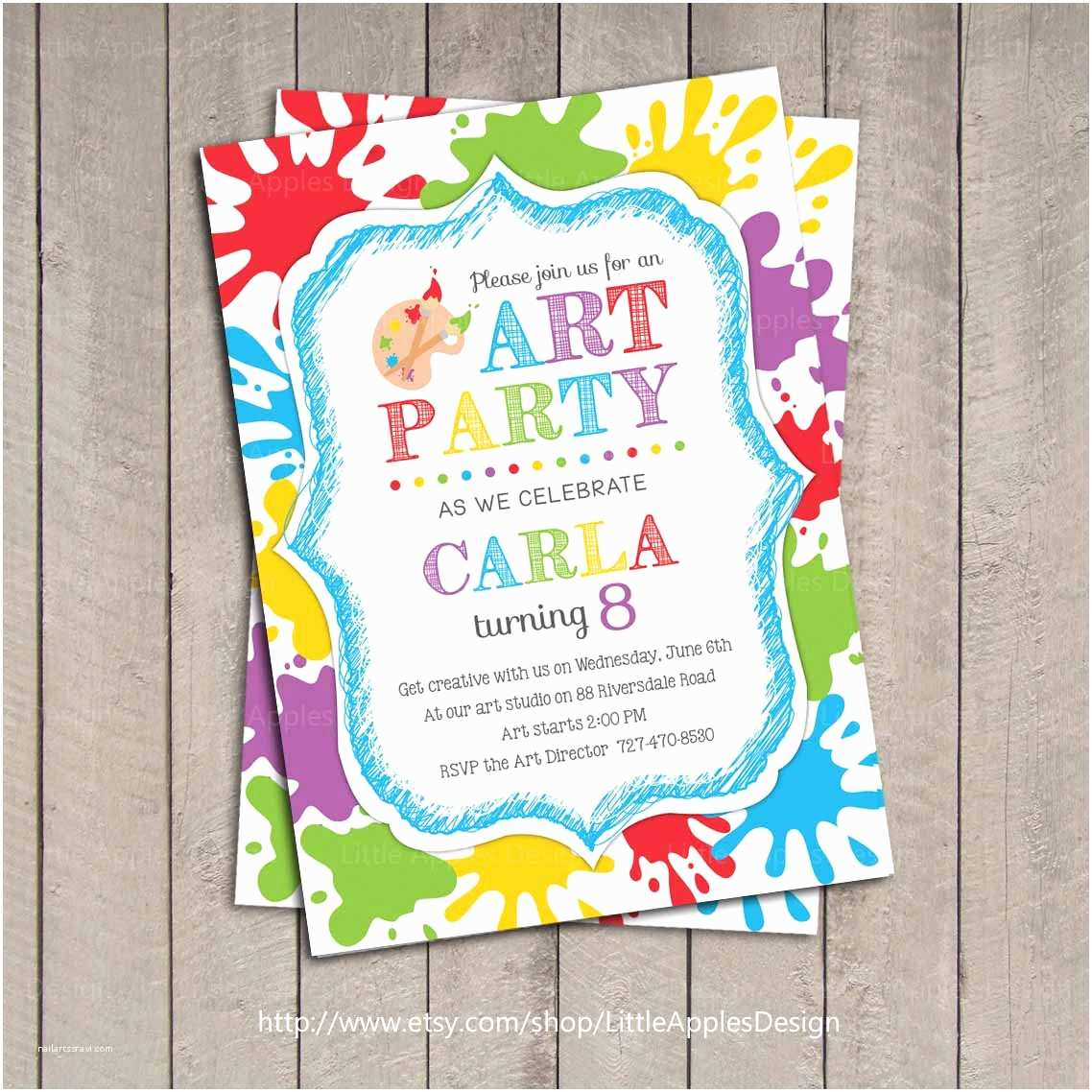 Painting Birthday Party Invitations Art Party Invitation Kids Art Party Invitation by