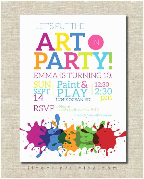Painting Birthday Party Invitations Art Party Invitation Painting Party Art Birthday Party