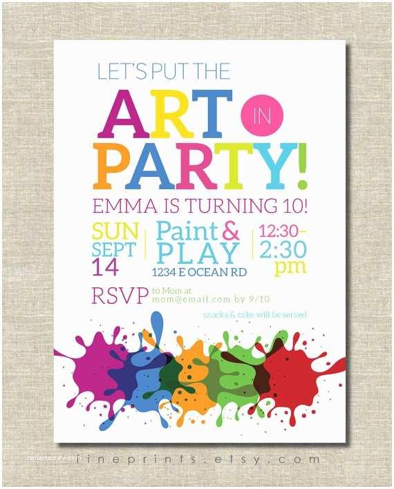 Painting Birthday  Invitations Art  Invitation Painting  Art Birthday