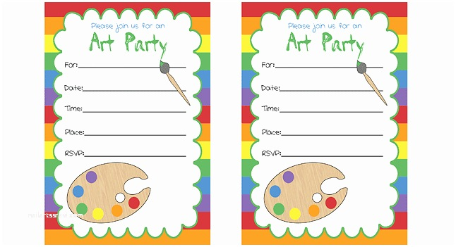 Painting Birthday Party Invitations Art Party Invitations Birthday Party For Kids