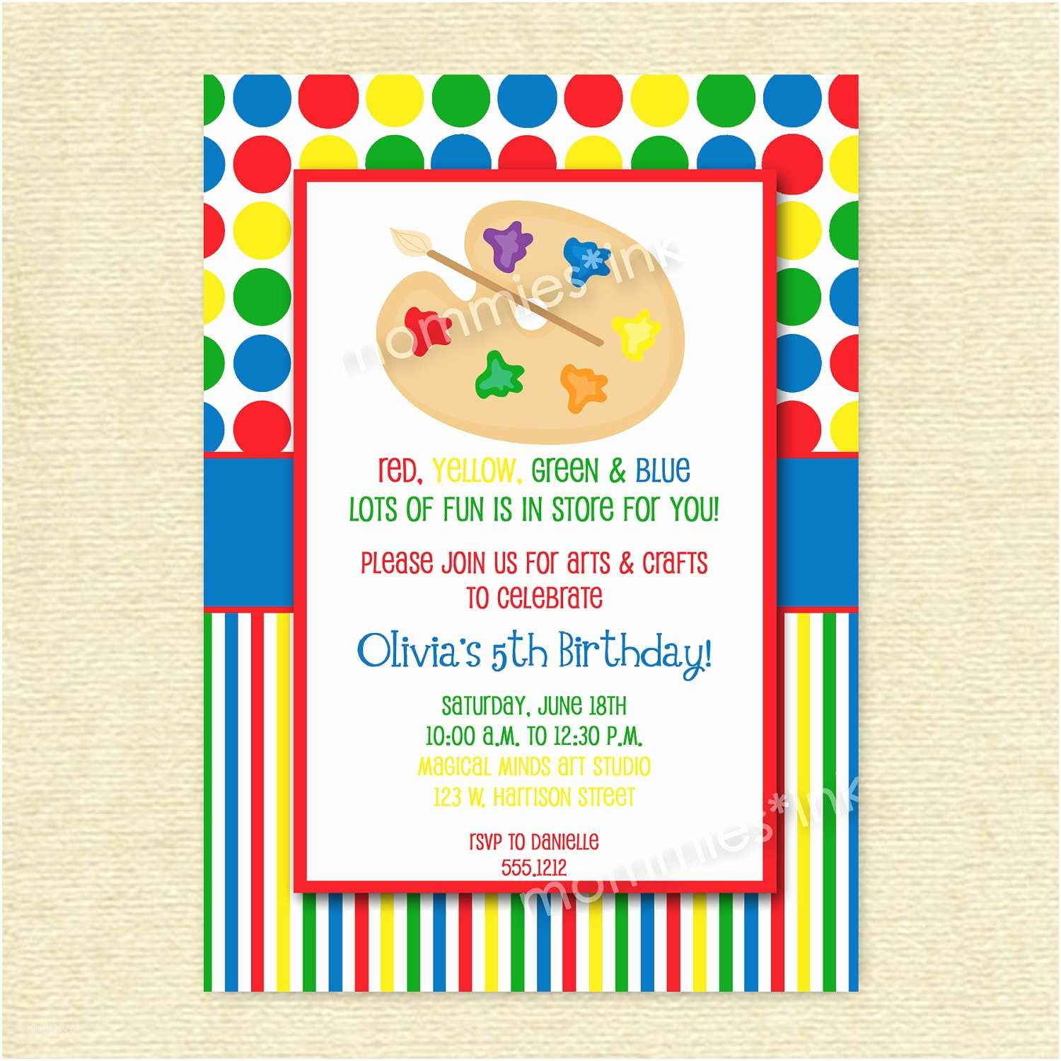 Painting Birthday Party Invitations Art Party Invitations Free Templates