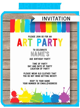Painting Birthday Party Invitations Art Party Invitations Paint Party