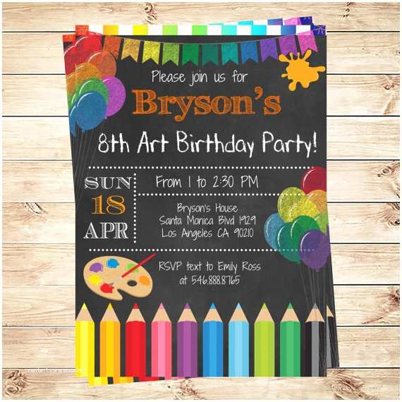 Painting Birthday Party Invitations Art Party Invitations Printables Birthday Party