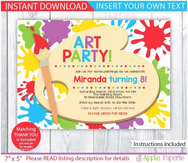 Painting Birthday Party Invitations Art Party Printable Art Party Invitation Kids Art Party