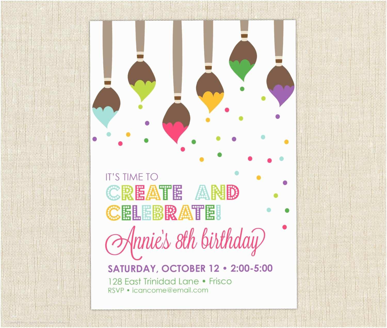 Painting Birthday Party Invitations Breathtaking Painting Birthday Party Invitations
