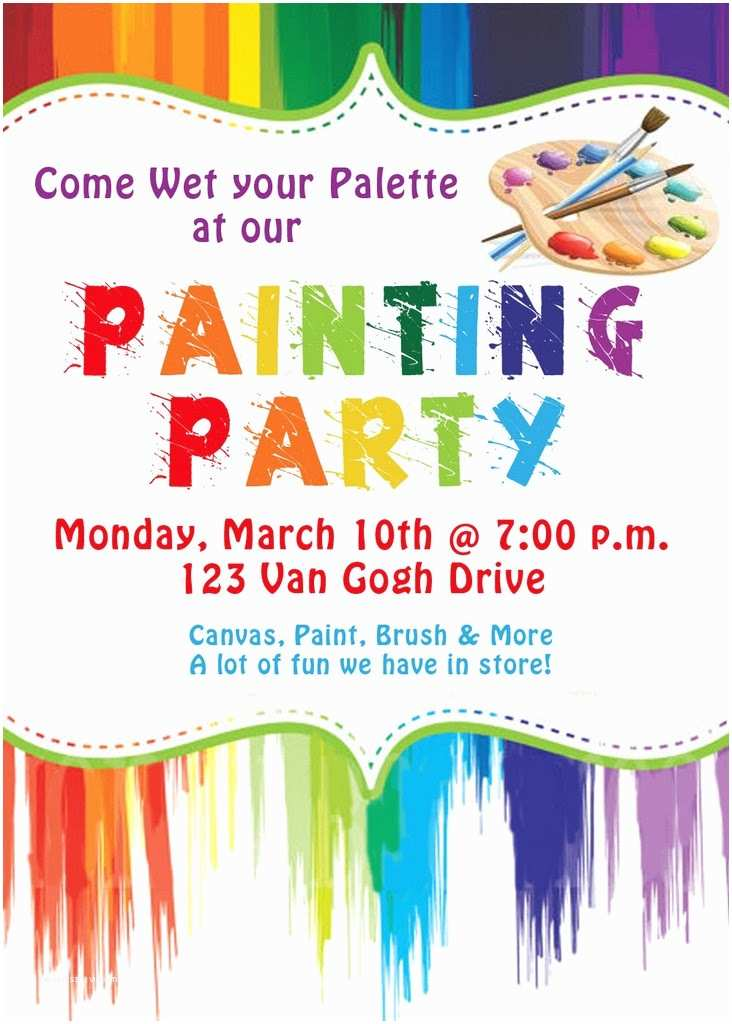 Painting Birthday Party Invitations Invite and Delight Painting Party