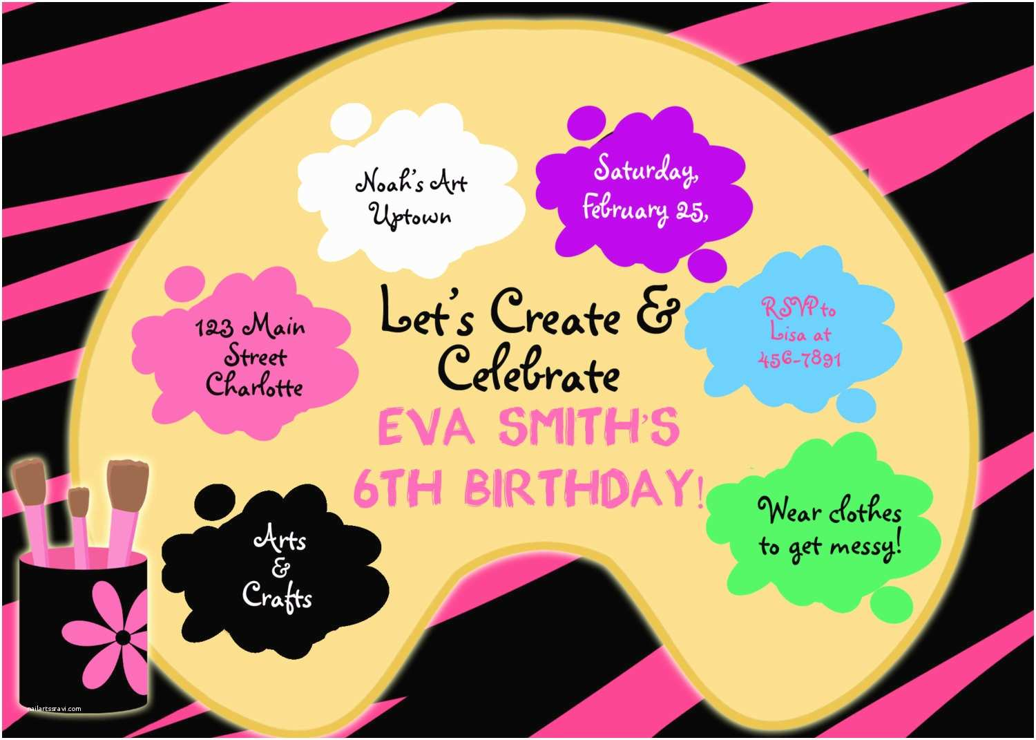 Painting Birthday Party Invitations Paint Party Birthday Invitation Art Party by thebutterflypress