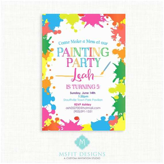 Painting Birthday Party Invitations Paint Party Birthday Invitation Painting Birthday Printable