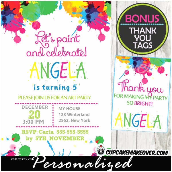 Painting Birthday Party Invitations Paint Splatter Art Party Invitation Personalized D6