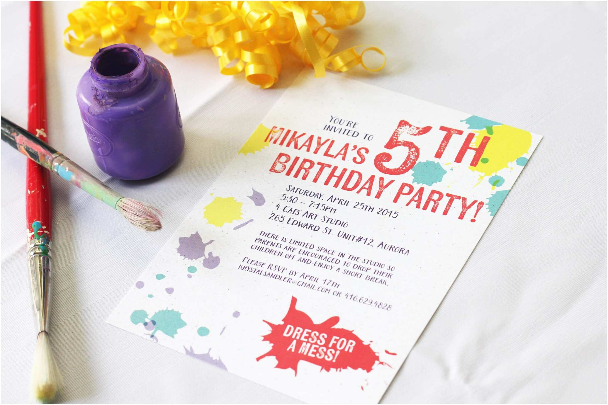 Painting Birthday Party Invitations Paint Splatter Birthday Party Invitations