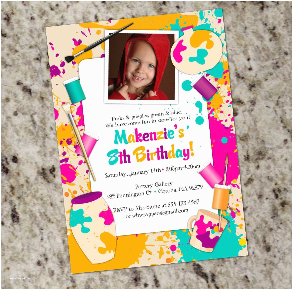 Painting Birthday Party Invitations Paint Your Own Pottery Birthday Party Invitation Pottery