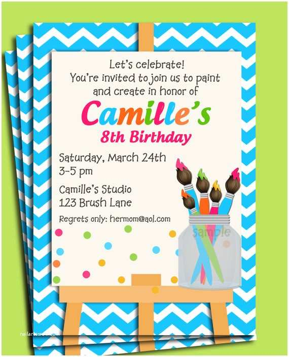 Painting Birthday Party Invitations Painting Art Party Birthday Invitation Printable or Printed