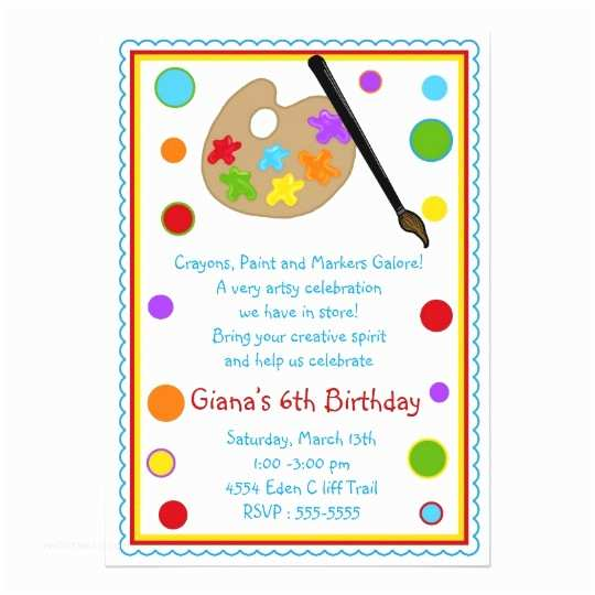 Painting Birthday Party Invitations Painting Birthday Party Invitations