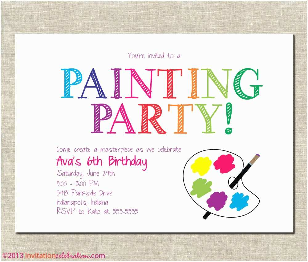 Painting Birthday Party Invitations Painting Party Invitation Printable Birthday