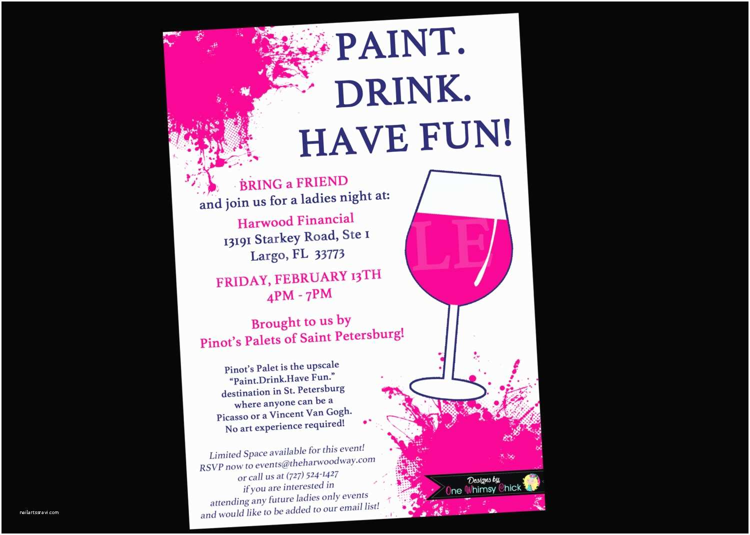 Painting Birthday Party Invitations Painting Wine Party Invitation Bachelorette Invitations