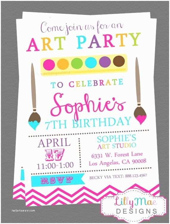 Painting Birthday Party  Party Invitation Templates Paint Party