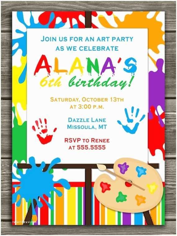 Painting Birthday Party Invitations Pin by Lacie Goddard On Ayla Wants An Art Party