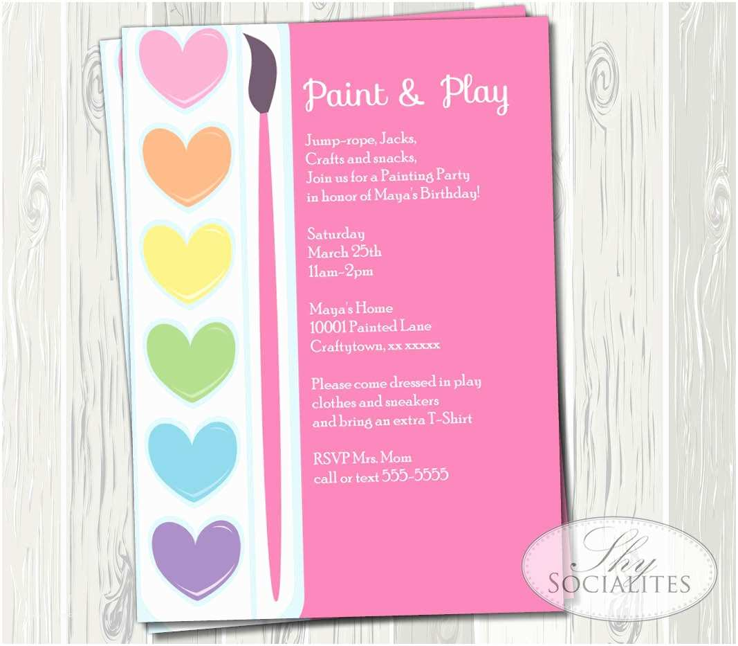 Painting Birthday Party Invitations Pink Painting Party Printable Invitations Ceramic Pottery