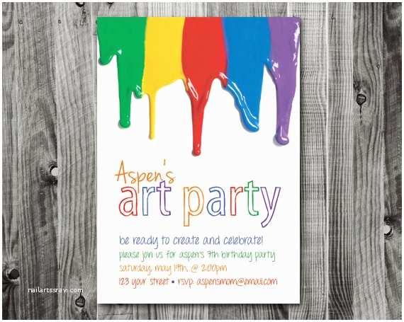 Painting Birthday Party Invitations Printable Art Party Birthday Invitation & Thank by