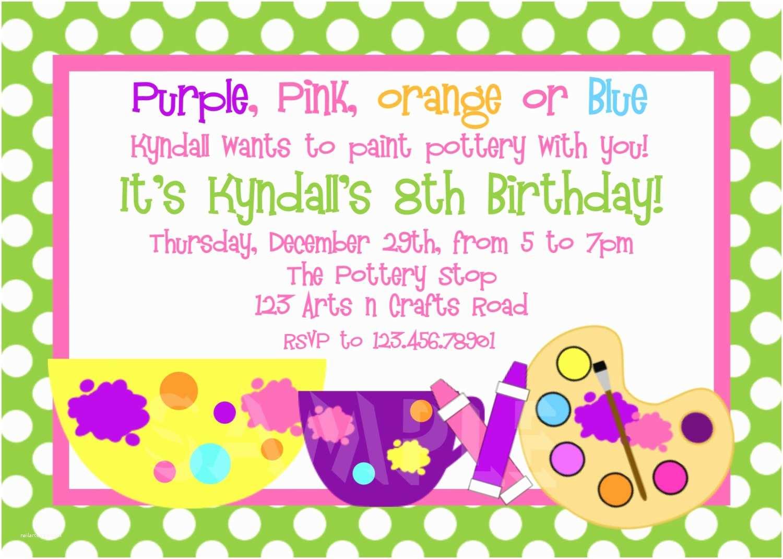 Painting Birthday Party Invitations Printable Birthday Invitations Girls Pottery Painting Party