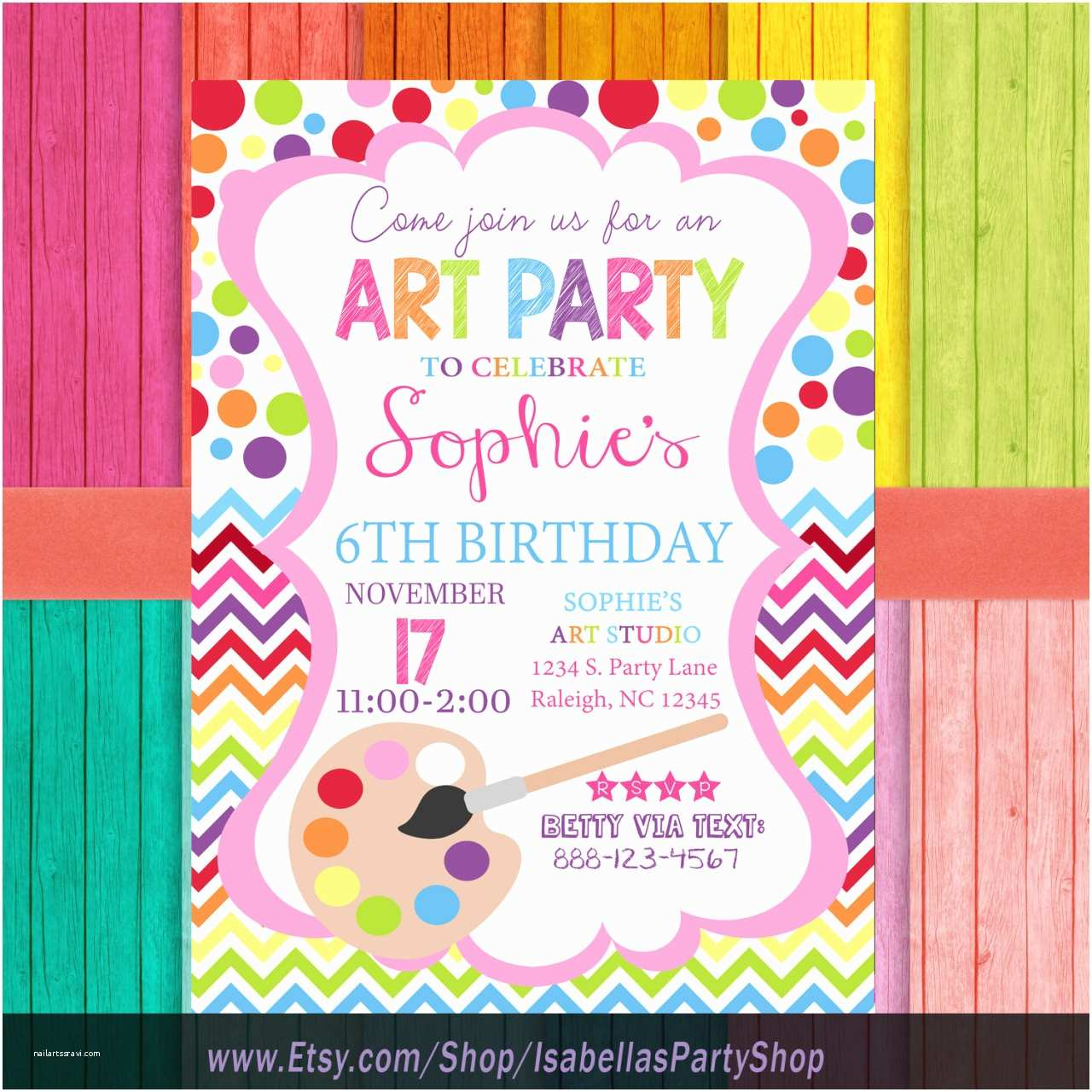 Painting Birthday Party Invitations Watercolor Landcolor Skycolor — Art Party Invitation