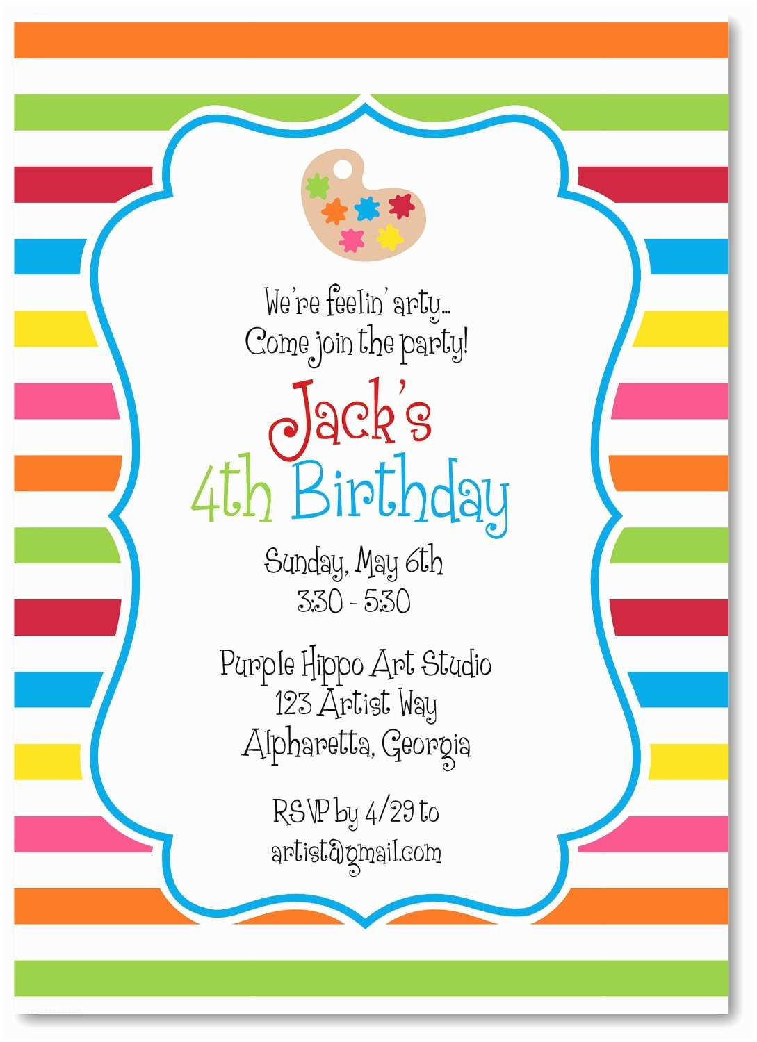Painting Party Invitations Art Party Invitations