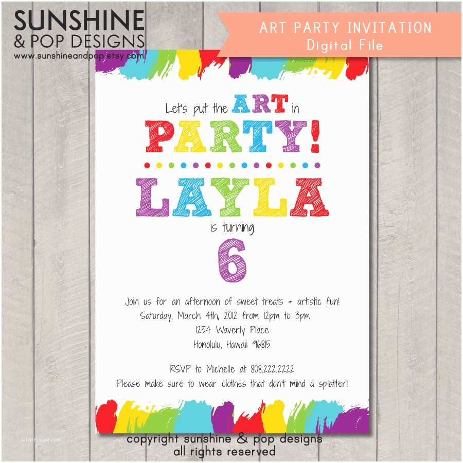 Painting Party Invitations Items Similar to Printable Art Party Invitation Birthday