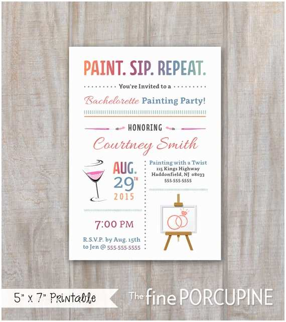 Painting Party Invitations Painting Party Invites Wine and Painting by thefineporcupine