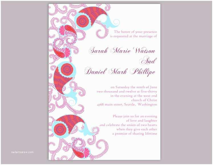 Paisley Wedding Invitation Template Bollywood Wedding Invitation Template Download Printable