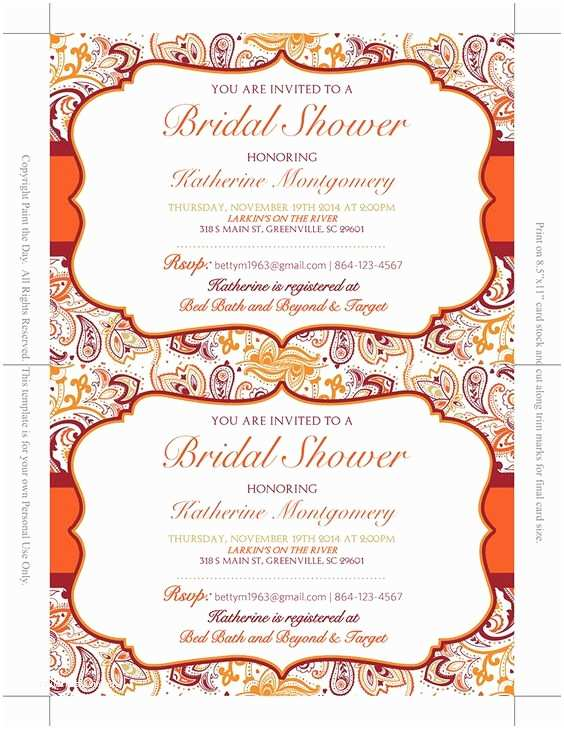 Paisley Wedding Invitation Template Bridal Shower Invitation Template Autumn Burnt orange