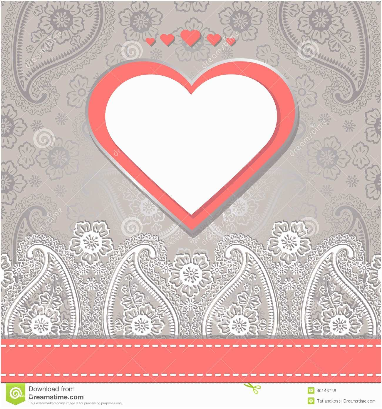 Paisley Wedding Invitation Template Cute Design Template Paisley Border Lace and Hearts Stock
