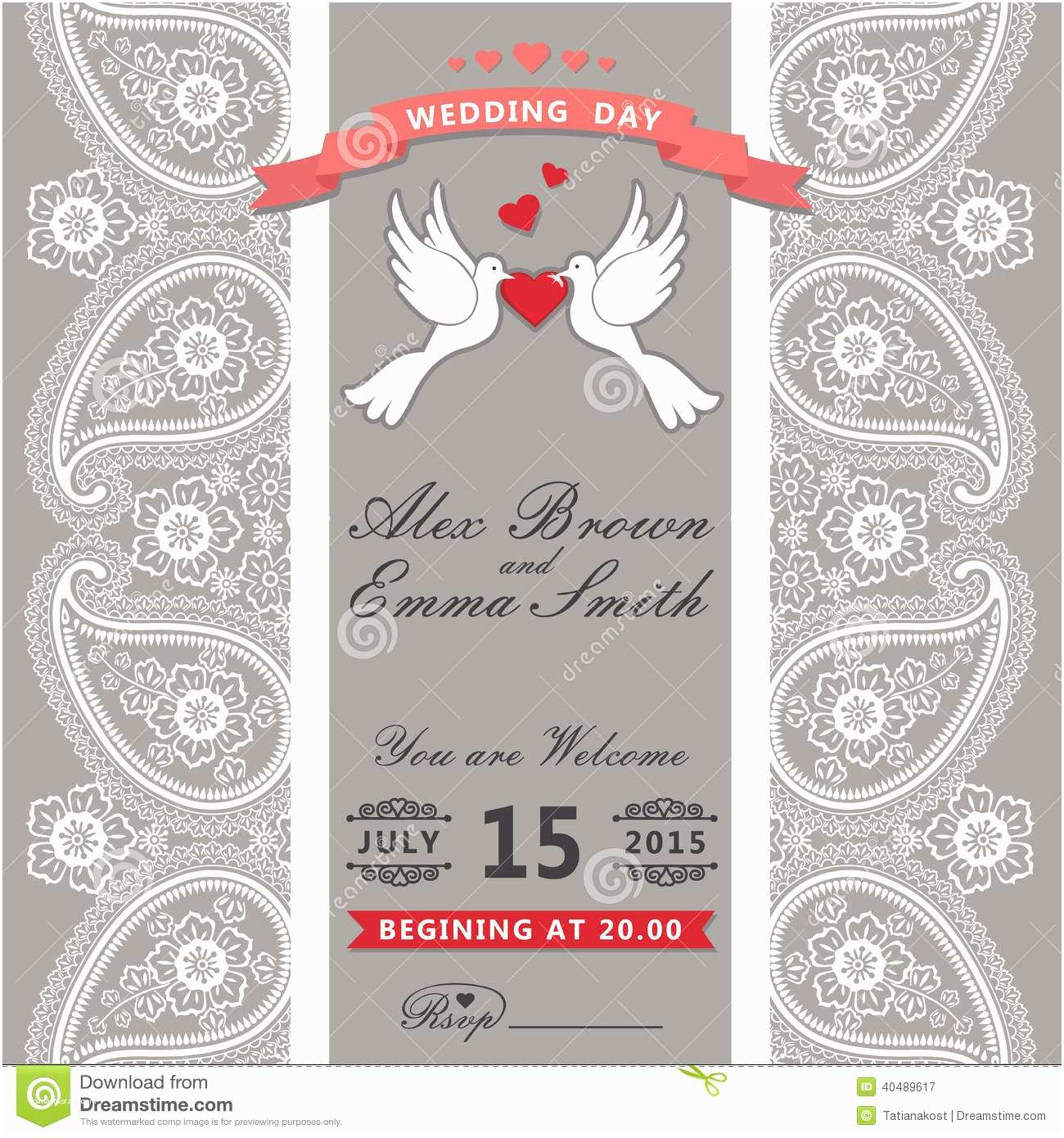 Paisley Wedding Invitation Template Cute Wedding Invitation Paisley Border Lace Cartoon