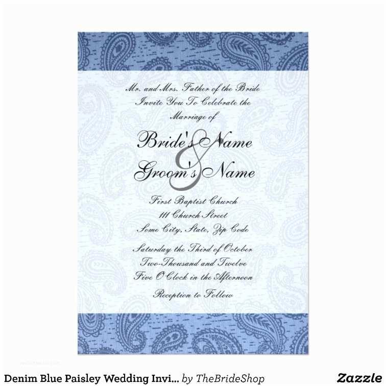 Paisley Wedding Invitation Template Denim Blue Paisley Wedding Invitation