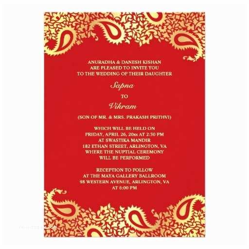 Paisley Wedding Invitation Template Elegant Paisley Indian Style Wedding Invitation