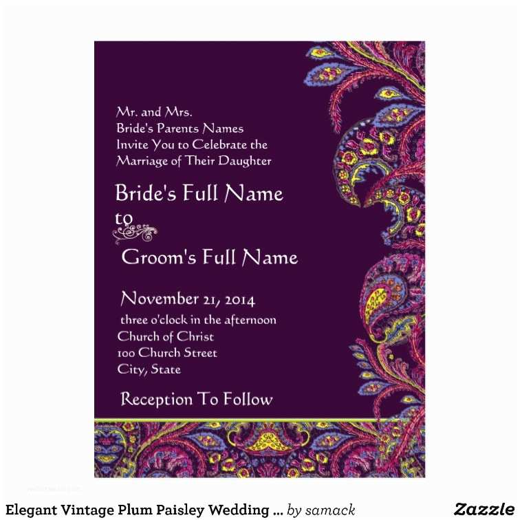 Paisley Wedding Invitation Template Elegant Vintage Plum Paisley Wedding Invitation Postcard