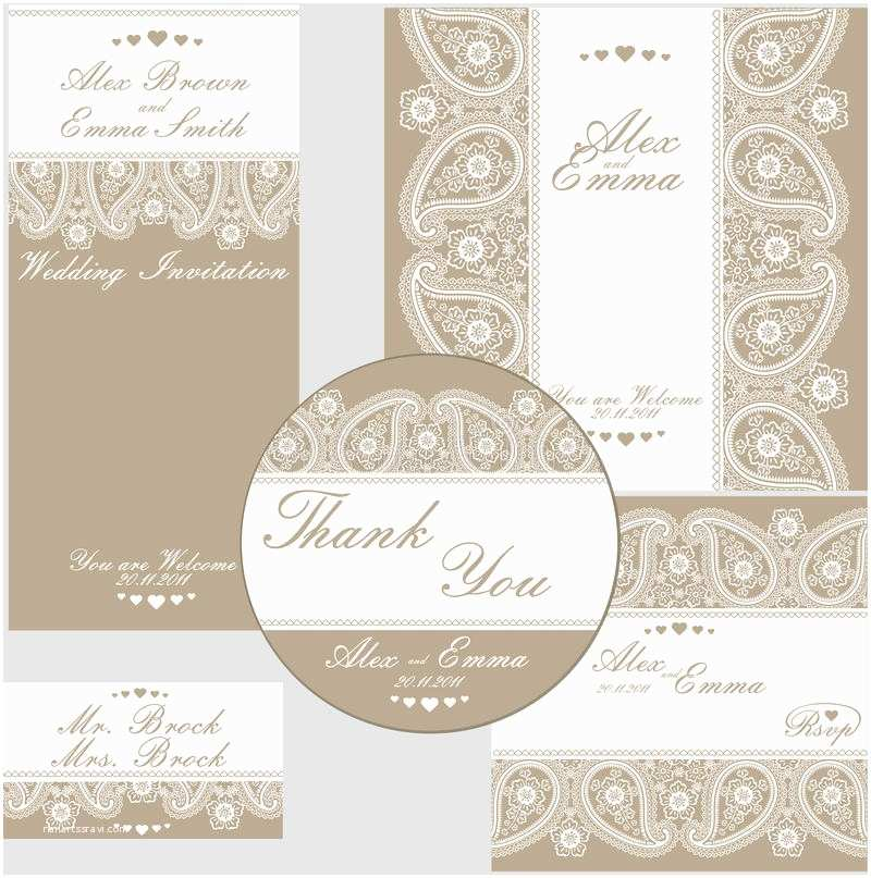 Paisley Wedding Invitation Template Elegant Wedding Design Template Lace Stock Vector