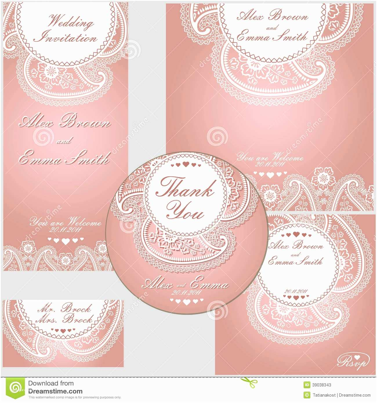 Paisley Wedding Invitation Template Paisley Border Lace Design Template Stock Vector Image