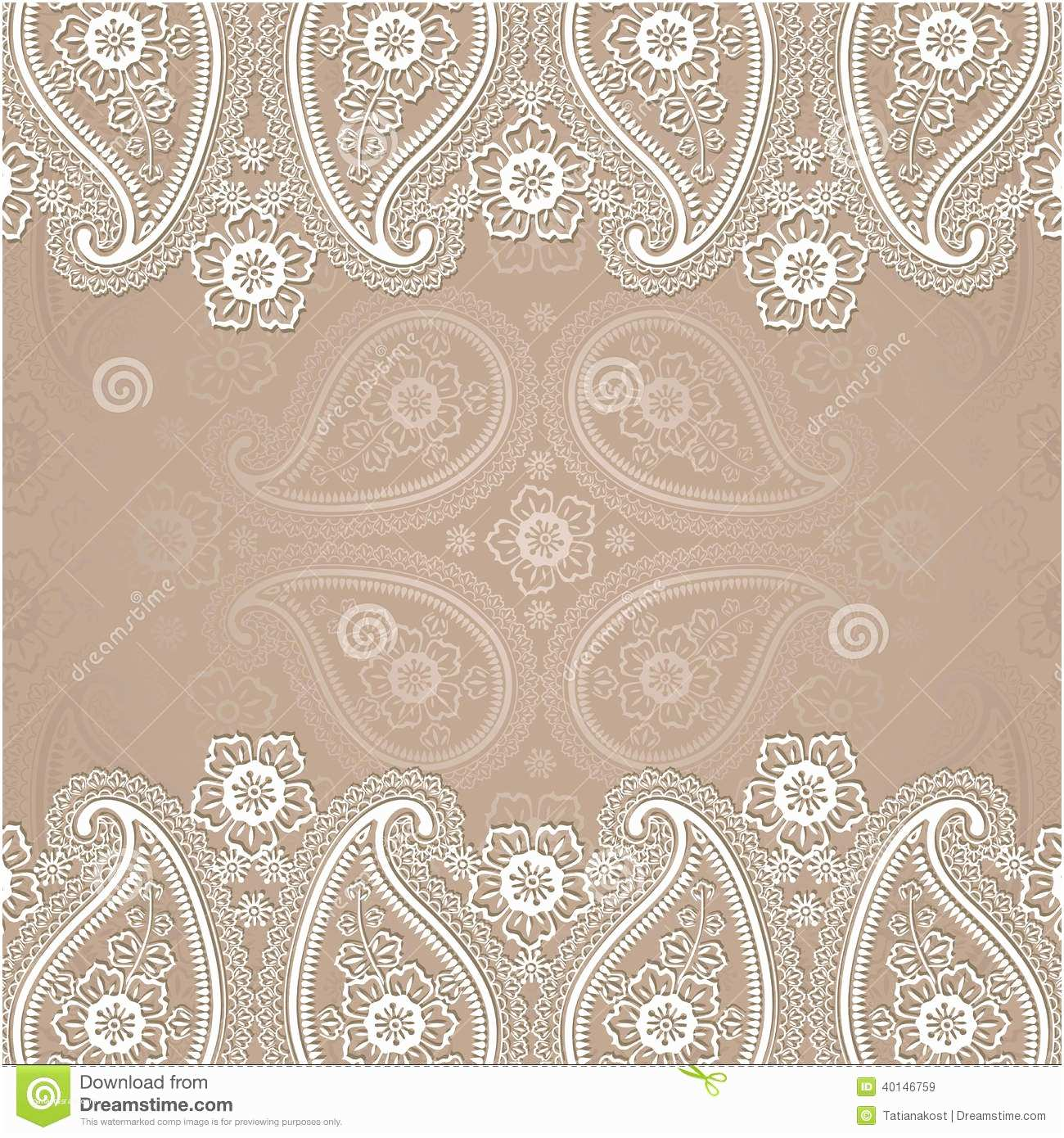 Paisley Wedding Invitation Template Paisley Border Lace Design Template Stock Vector
