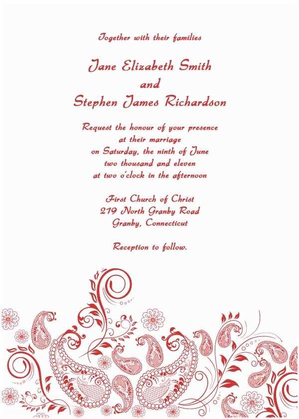 Paisley Wedding Invitation Template Paisley Vintage Printable Wedding Invitation Template