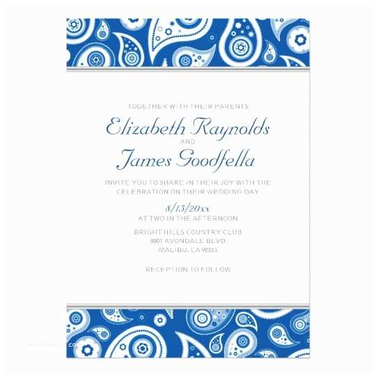 Paisley Wedding Invitation Template Royal Blue Paisley Wedding Invitations