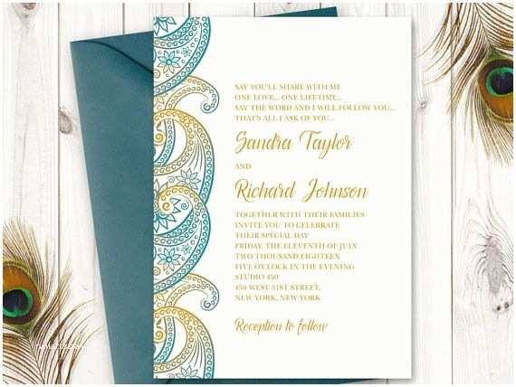 Paisley Wedding Invitation Template Teal & Gold Paisley Wedding Invitation Printable Template