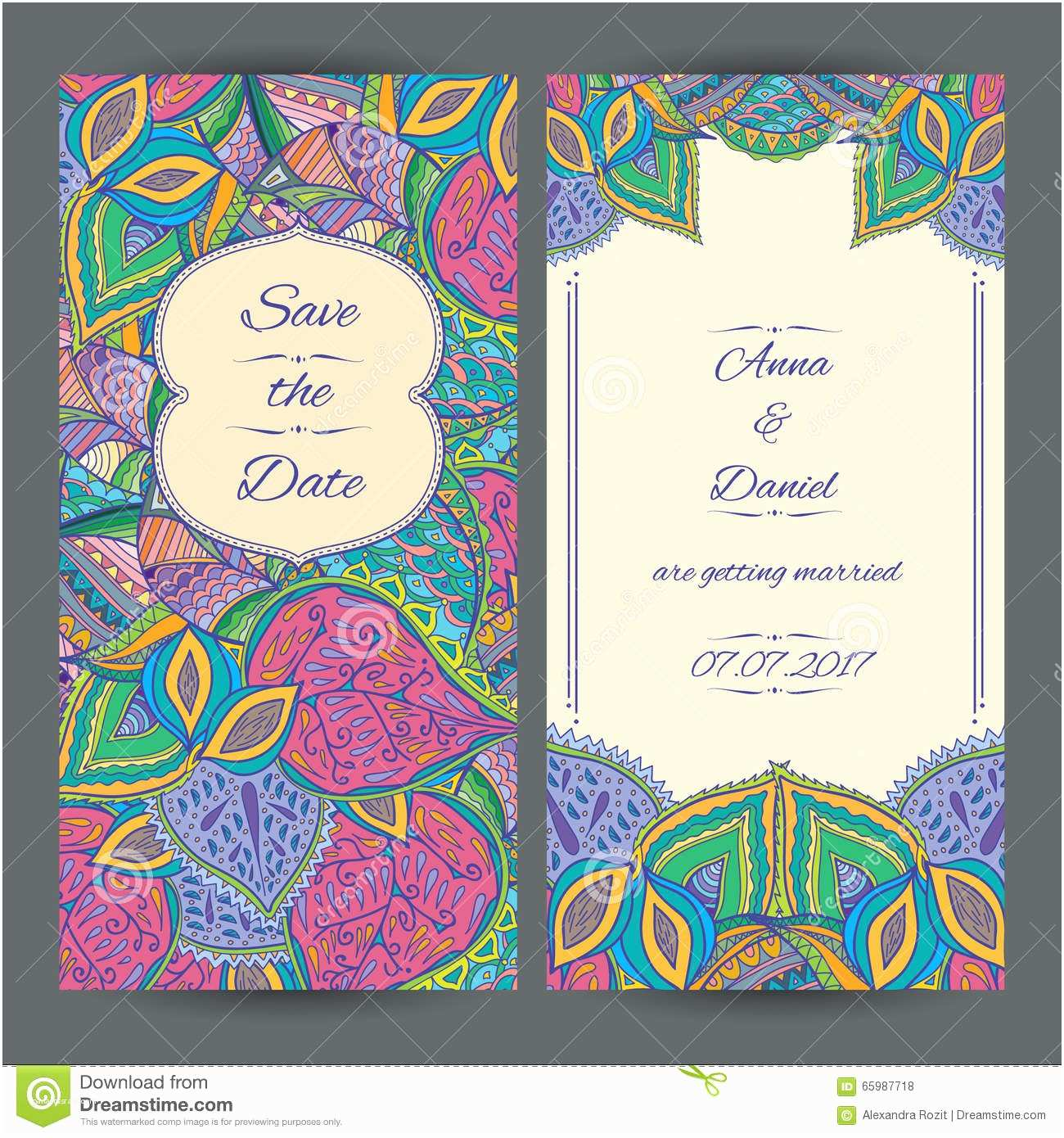 Paisley Wedding Invitation Template Wedding Invitation Card Template Stock Vector Image