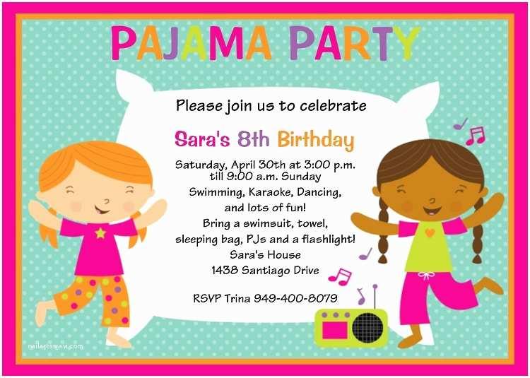 Pajama Party Birthday Invitations Sleepover Invitations Printable or Printed p 641