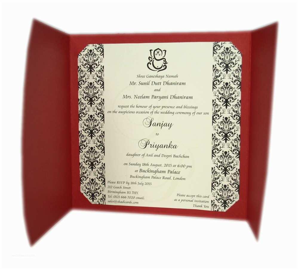 Pakistani Wedding Invitations Usa Abc 414h Red Hindu Wedding Invitations Card [] £0 65