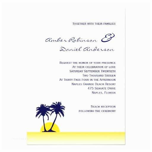 Palm Tree Wedding Invitations Beach Palm Tree Wedding Invitation