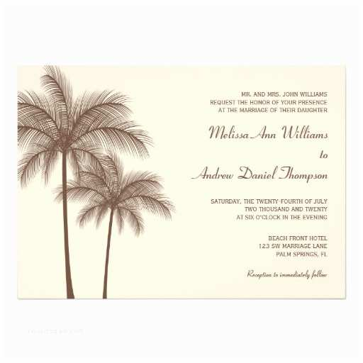 Palm Tree Wedding Invitations Brown Palm Tree Tropical Wedding Invitations