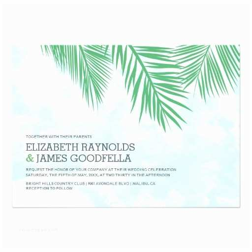 Palm Tree Wedding Invitations Elegant Palm Trees Wedding Invitations Custom Invitations