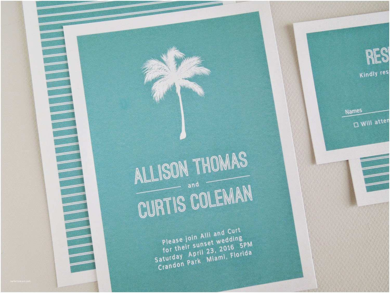 Palm Tree Wedding Invitations Invited too Palm Tree Destination Wedding Invitation Set