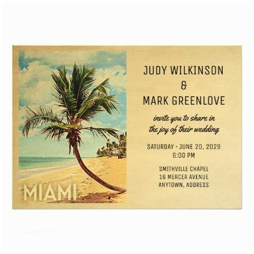 Palm Tree Wedding Invitations Miami Wedding Invitation Beach Palm Tree