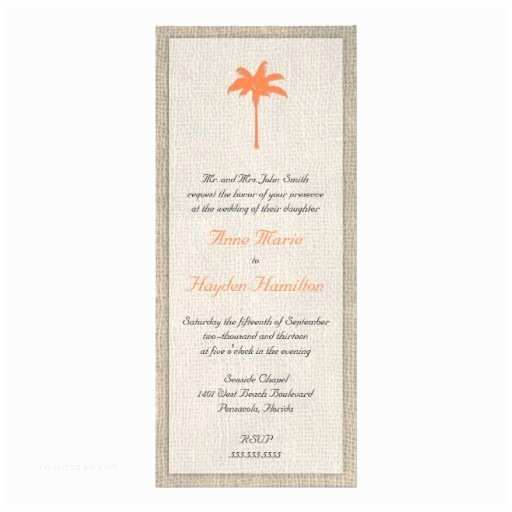 Palm Tree Wedding Invitations Palm Tree & Burlap Wedding Invitation orange
